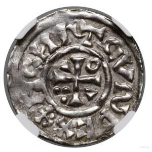 Denar, 1002–1009, Ratyzbona, mincerz Viga; Aw: Krzyż gr...