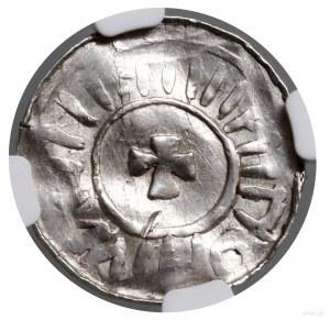 Denar; Aw: Głowa w lewo, BERNHARD PSX; Rw: Krzyż, legen...