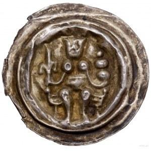 Brakteat, XIII w.; Ukoronowana postać, siedząca natron...