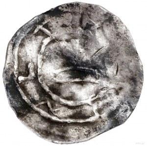 Denar, ok. 1013–1025; Aw: Wzgórze zkrzyżem, wokoło pom...