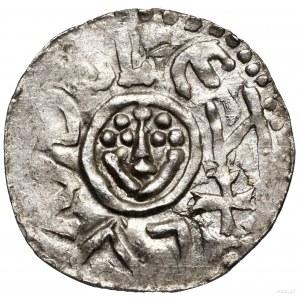 Denar, przed 1107; Wrocław; Aw: Głowa zperełkową fryzu...
