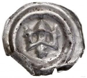 Brakteat, XIII–XIV w.; Trzy wieże, dwie mniejsze iwięk...