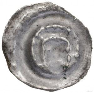 Brakteat, XIII–XIV w.; Długowłosa głowa nawprost; Wiel...