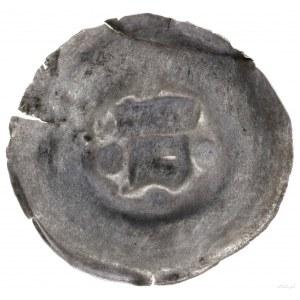 Brakteat, XIII–XIV w.; Hełm zpióropuszem, w lewo, wokó...