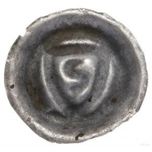 Brakteat, XIII–XIV w.; Ostrołukowa tarcza naktórej nie...