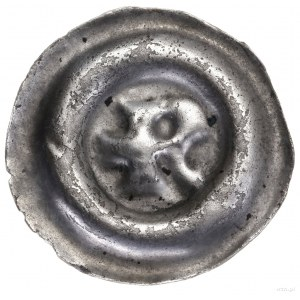 Brakteat szeroki, 1230–1290; Litera R zktórej słupa wy...