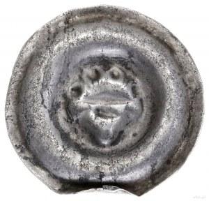 Brakteat, 1230–1290; Ukoronowana schematyczna głowa na...