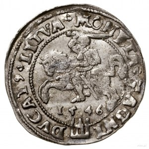 Grosz nastopę litewską, 1546, Wilno; Aw: Głowa króla w...