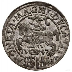 Grosz nastopę polską, 1547, Wilno; końcówki napisów L ...
