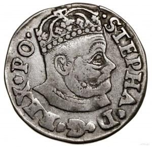 Trojak, 1579, Olkusz; Aw: Duża głowa króla, wokoło STEP...