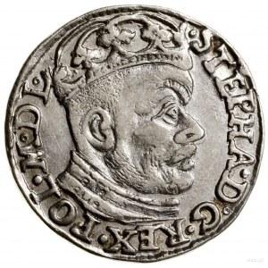 Trojak, 1584, Olkusz; głowa króla dzieli napis u góry, ...
