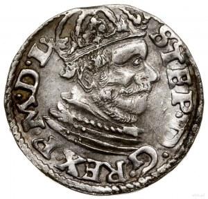 Trojak, 1585, Poznań; mała głowa króla (popiersie bez r...