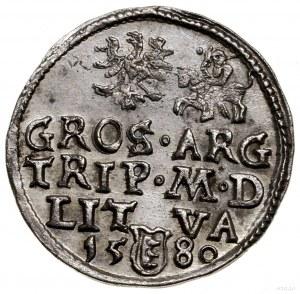 Trojak, 1580, Wilno; nominał III w okrągłej tarczy u do...