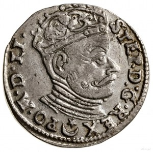 Trojak, 1582, Wilno; herb Batorych nad napisem narewer...