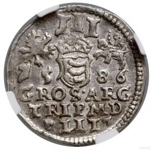 Trojak, 1586, Wilno; bez herbu Lis pod popiersiem, naa...