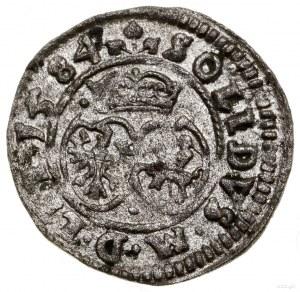 Szeląg, 1584, Wilno; duży monogram, końcówka legendy aw...
