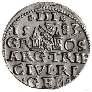 Trojak, 1583, Ryga; korona króla zrozetami, naawersie...