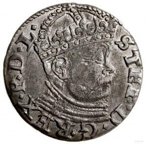 Trojak, 1586, Ryga; wariant zdużą głową władcy, wysoka...