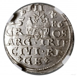 Trojak, 1586, Ryga; mała głowa króla, naawersie końców...