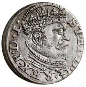 Trojak, 1586, Ryga; wariant zdużą głową władcy, korona...