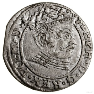 Grosz, 1581, Ryga; STEPH w legendzie awersu, pełna data...