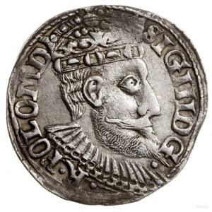 Trojak, 1599, Olkusz; głowa starego typu, z napisem POL...