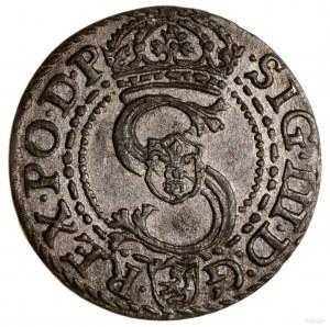 Szeląg, 1601, Kraków; litera K pomiędzy tarczami herbow...