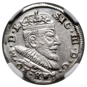 Trojak, 1590, Wilno; rzadsza odmiana z herbem Leliwa po...