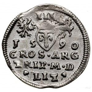 Trojak, 1590, Wilno; herb Chalecki pod popiersiem króla...