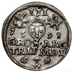 Trojak, 1591, Wilno; herb Chalecki z rozetkami po bokac...