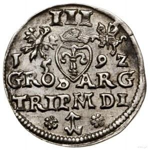 Trojak, 1592, Wilno; na awersie skrócona tytulatura kró...