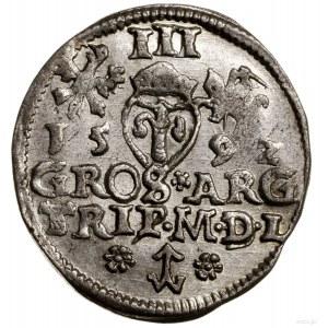 Trojak, 1592, Wilno; na awersie tytulatura króla SIGIS ...