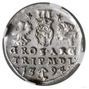 Trojak, 1594, Wilno; popiersie króla z pełnym zarostem,...