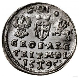 Trojak, 1595, Wilno; u dołu herb Chalecki, rozetki po b...