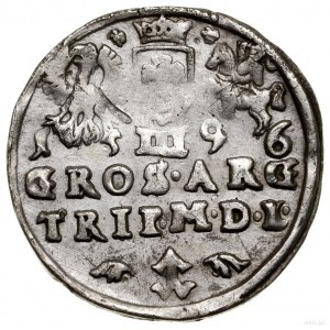 Trojak, 1596, Wilno; mała głowa króla, kryza władcy wac...
