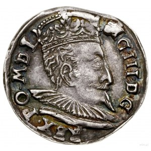 Trojak, 1598, Wilno; popiersie króla z wachlarzowatą kr...