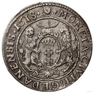 Ort, 1618, Gdańsk; odmiana z łapą niedźwiedzia i rozetk...