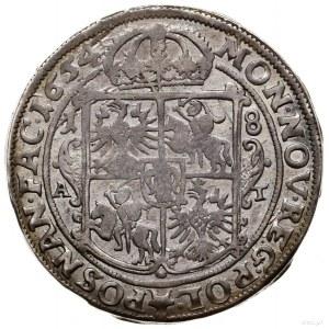 Ort, 1654, Poznań; wariant z prostą tarczą herbową, ini...