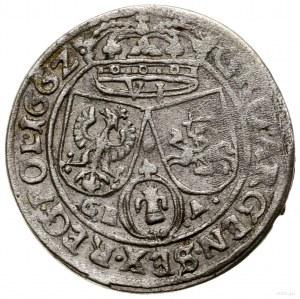 Szóstak, 1662, Lwów; herb Ślepowron i końcówka napisu P...