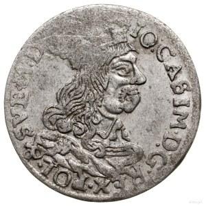 Trojak, 1662, Kraków; popiersie króla bez obwódki, z ko...