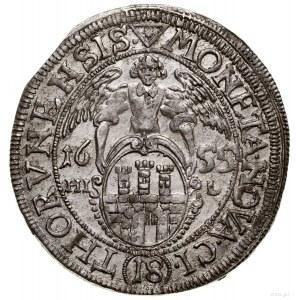 Ort, 1655, Toruń; moneta wykonana stemplami z 1654 roku...