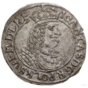 Ort, 1663, Toruń; popiersie z wąsem władcy kręconym ku ...