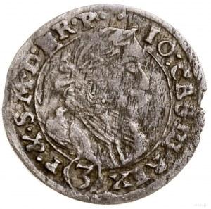 3 krajcary, 1661 TT, Opole; Aw: Popiersie króla i napis...