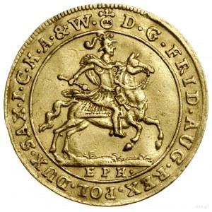 Dukat, 1702, Lipsk; Aw: Król na koniu w zbroi i hełmie ...