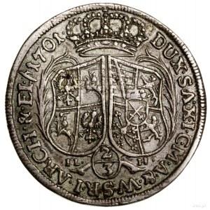 2/3 talara (gulden), 1703 ILH, Drezno; IL - H (inicjały...