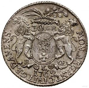 Złotówka (30 groszy), 1762, Gdańsk; odmiana z dużym wie...
