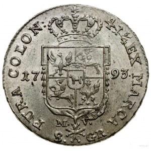 Dwuzłotówka, 1793, Warszawa; moneta z kontramarką Pilaw...