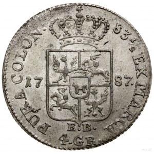 Złotówka (4 grosze), 1787 EB, Warszawa; litery EB (inic...