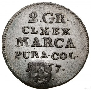 Półzłotek (2 grosze), 1767; fałszerstwo pruskie z kontr...