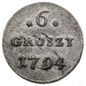 6 groszy miedziane, 1794, Warszawa; ciekawa odmiana z b...